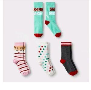 4 Pairs Cat and Jack Reindeer Crew Socks 5.5 - 8.5